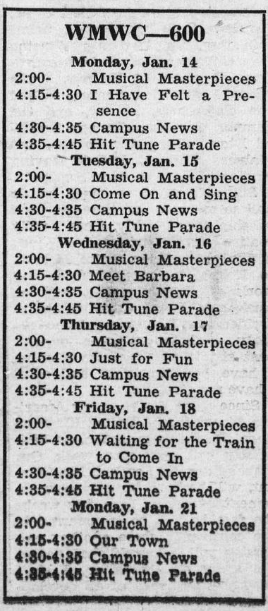WMWC Schedule (January 14-21, 1946)