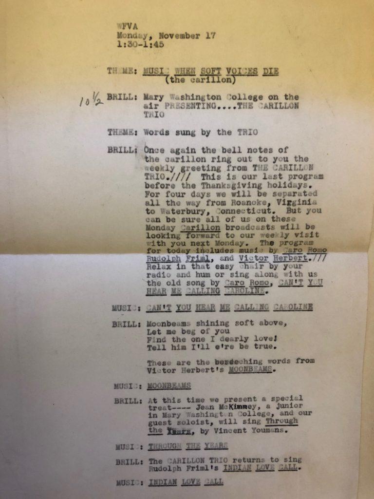 WFVA Radio Script from November 17, 1941