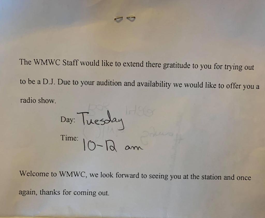 Time slot congratulations letter (1997, est.)
